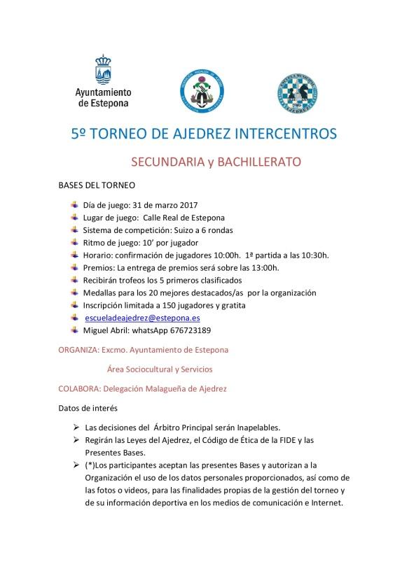 5º TORNEO DE AJEDREZ INTERCENTROS 2017