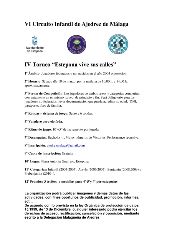 Bases Torneo Infantil Estepona CIRCUITO 2018