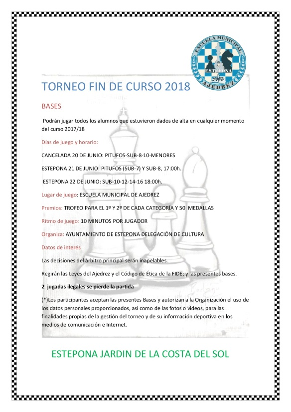 BASES TORNEO FIN DE CURSO 2018
