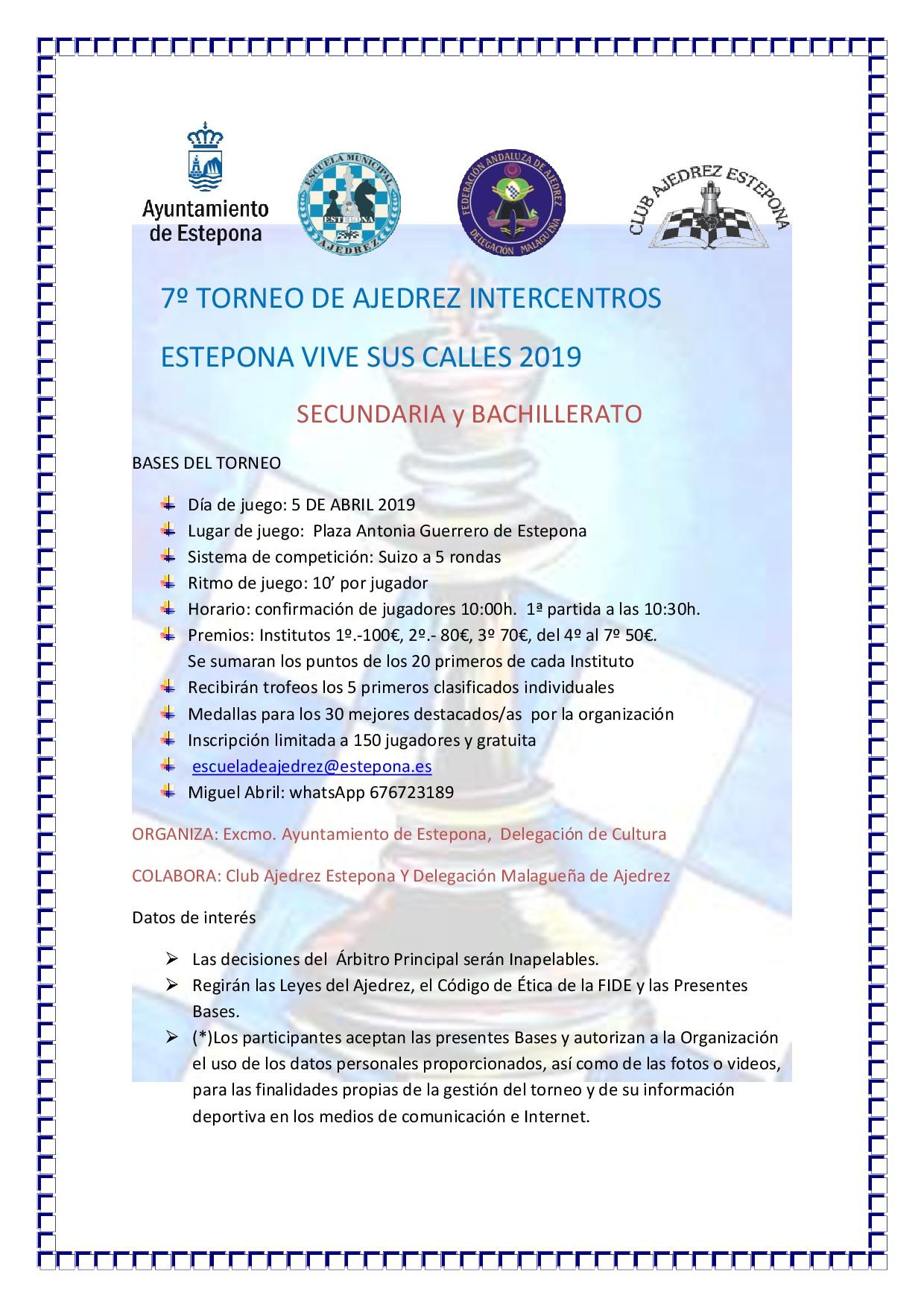 7º TORNEO DE AJEDREZ INTERCENTROS 2019 nuevo