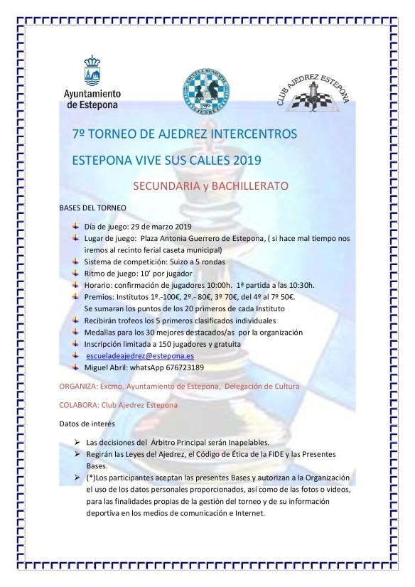 7º TORNEO DE AJEDREZ INTERCENTROS 2019